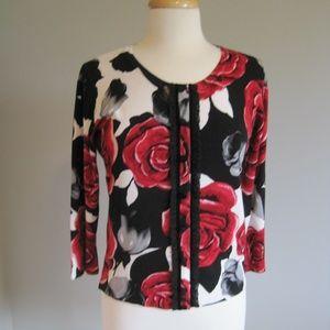 WHBM White House Black Market Floral Cardigan S